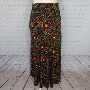 LuLaRoe Black Yellow Red Aztec Maxi Skirt XS NWT